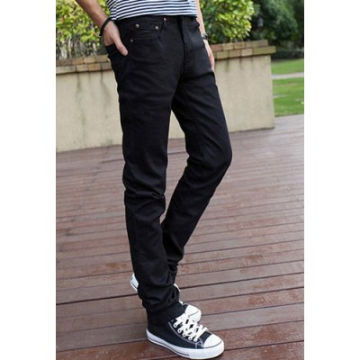 Гаджет   Slimming Stylish Solid Color Simple Straight Leg Thicken Jeans For Men Pants