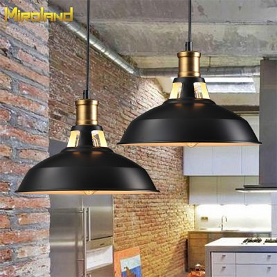 Miroland Retro Industrial Wind Pendant Light Vintage Iron Paint Lampshade with Tungsten Filament Edison Bulb for Loft DIY (Q8025)