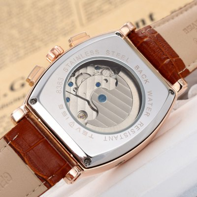 ФОТО Tevise 8383B Male Tourbillon Wristwatch Automatic Mechanical Watch Date Leather Strap Rectangle Dial