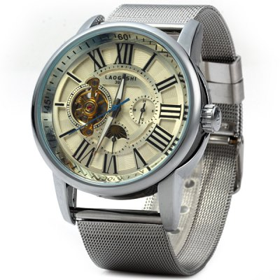 Laogeshi 398A Tourbillon Automatic Mechanical Watch Steel Band for Men
