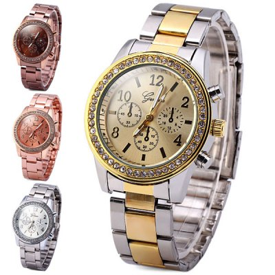 Geneva Diamond Quartz Watch Round Dial Steel Band for LadyWomens Watches<br>Geneva Diamond Quartz Watch Round Dial Steel Band for Lady<br><br>Brand: Geneva<br>Watches categories: Female table<br>Available color: Silver, Rose Gold, Coppery, Gold<br>Style : Fashion&amp;Casual<br>Movement type: Quartz watch<br>Shape of the dial: Round<br>Display type: Analog<br>Case material: Stainless steel<br>Band material: Steel<br>Clasp type: Folding clasp with safety<br>The dial thickness: 0.8 cm / 0.3 inches<br>The dial diameter: 3.7 cm / 1.5 inches<br>The band width: 1.8 cm / 0.7 inches<br>Product weight: 0.066 kg<br>Product size (L x W x H) : 13.5 x 3.7 x 0.8 cm / 5.3 x 1.5 x 0.3 inches<br>Package contents: 1 x Watch