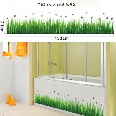 Creative Reusable DIY Decorative Grass Beetle Skirting Line Bedroom Hallway Porch Waist Line Sticker Removable Decor Mural for House Ornament
