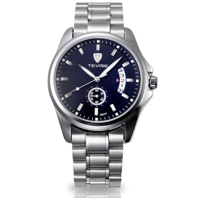 Tevise G8377 Automatic Mechanical Men Watch Date DisplayMens Watches<br>Tevise G8377 Automatic Mechanical Men Watch Date Display<br><br>Watches categories: Male table<br>Watch style: Business<br>Style elements: Stainless steel<br>Available color: Black, White<br>Movement type: Automatic mechanical watch<br>Shape of the dial: Round<br>Display type: Analog<br>Case material: Stainless steel<br>Band material: Stainless steel<br>Clasp type: Folding clasp with safety<br>Special features: Date<br>The dial thickness: 1.3 cm / 0.5 inches<br>The dial diameter: 4.2 cm / 1.7 inches<br>Product weight: 0.135 kg<br>Package weight: 0.275 kg<br>Product size (L x W x H): 19 x 4.2 x 1.3 cm / 7.5 x 1.7 x 0.7 inches<br>Package size (L x W x H): 10 x 10 x 6 cm<br>Package Contents: 1 x Watch