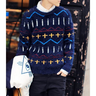 Гаджет   Stylish Round Neck Slimming Colorful Geometric Jacquard Long Sleeve Thicken Mohair Sweater For Men Sweaters & Cardigans