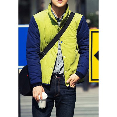 Гаджет   Trendy Stand Collar Colorful Button Slimming Color Splicing Long Sleeves Men