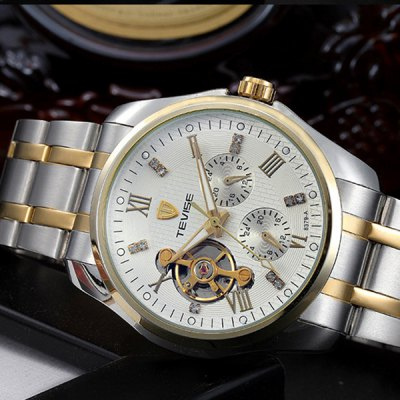 ФОТО Tevise 8379A Automatic Mechanical Watch Tourbillon Round Dial Stainless Steel Band for Men
