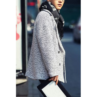 Гаджет   Laconic Turn-down Collar Snow Dot Slimming Double-Breasted Long Sleeves Men