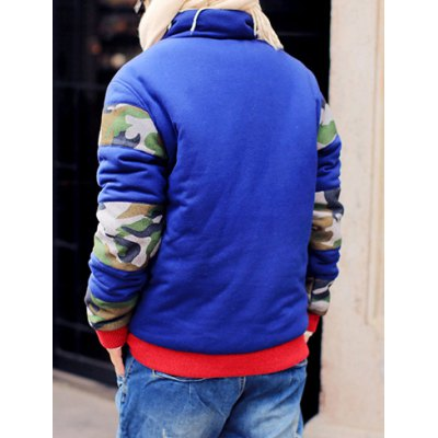 Гаджет   Stylish Stand Collar Slimming Camo Design Multicolor Splicing Long Sleeve Thicken Cotton Blend Coat For Men Jackets & Coats