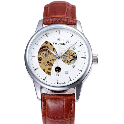 Tevise 614A Automatic Mechanical Watch Hollow Out Round Dial Leather Band for Men