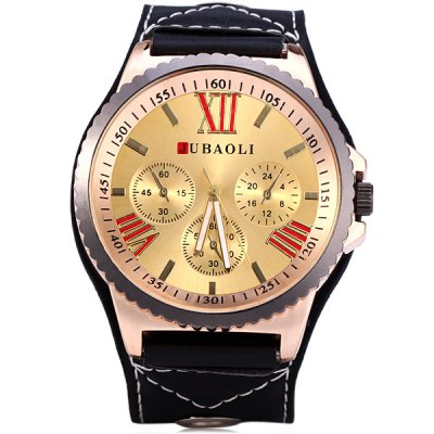 JUBAOLI Male Quartz Wrist Watch Big Round Dial Leather Strap with Three Sub - dials Decoration