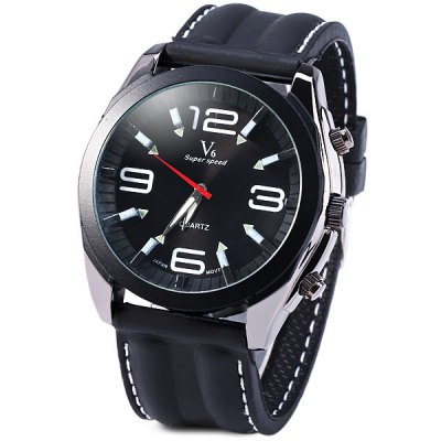 ФОТО V6 Male Quartz Wrist Watch Japan Movt Stainless Steel Round Dial Rubber Strap