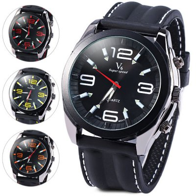 V6 Male Quartz Wrist Watch Japan Movt Stainless Steel Round Dial Rubber Strap