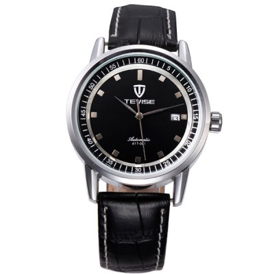 ФОТО Tevise 617 - 001 Automatic Mechanical Watch Date Round Dial Leather Band for Men