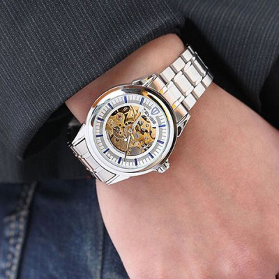 ФОТО Tevise 815A Hollow - out Automatic Mechanical Male Watch Stainless Steel Body Round Dial