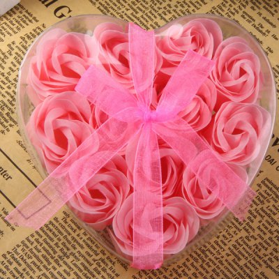 12Pcs Creative Roses Soap Flower Rose Petals Soap Flower for Birthday Christmas Gift