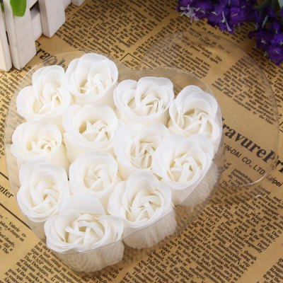 Фотография 12Pcs Rose Soap Flower with Romantic Heart - shaped Box Birthday / Christmas / Wedding Gift