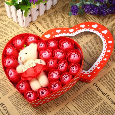 Фотография 20Pcs Rose Soap Flowers with Lovely Bear Kit Birthday / Christmas / Wedding Gift