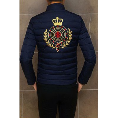 Гаджет   Stylish Stand Collar Slimming Pattern Embroidered Long Sleeve Thicken Cotton Blend Coat For Men Jackets & Coats