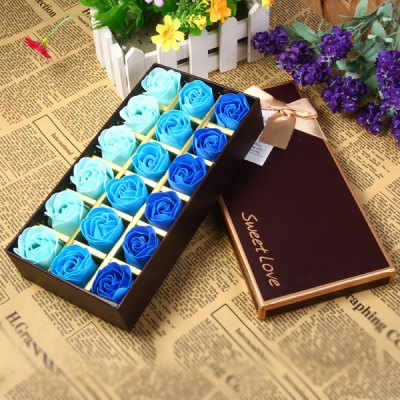 18Pcs 3  -  Color Rose Soap Flowers with Romantic Hardcover Box Birthday / Christmas / Wedding Gift