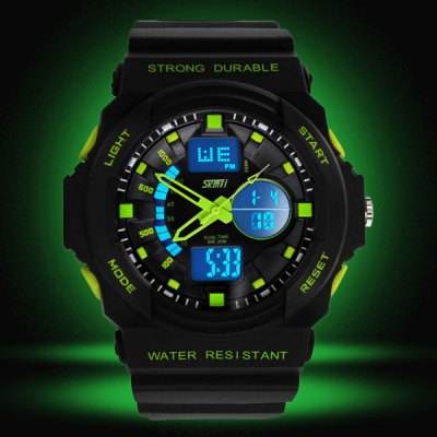 Skmei 0955 Double Movt Military LED Watch Day Date 3ATM Water Resistant for Sports