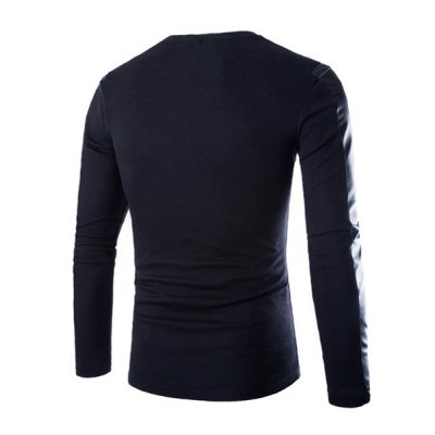 Гаджет   Trendy PU Leather Personality Splicing Round Neck Slimming Long Sleeves Men