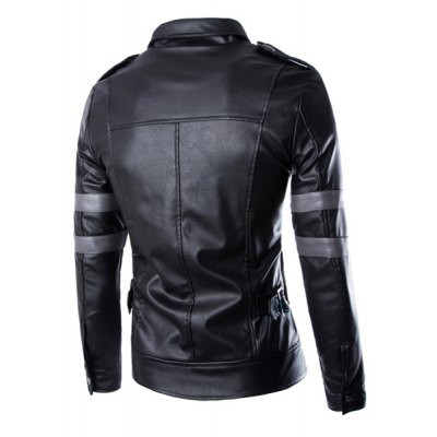 ФОТО Stylish Turn-down Collar Multi-Pocket Slimming Color Block Long Sleeves Men
