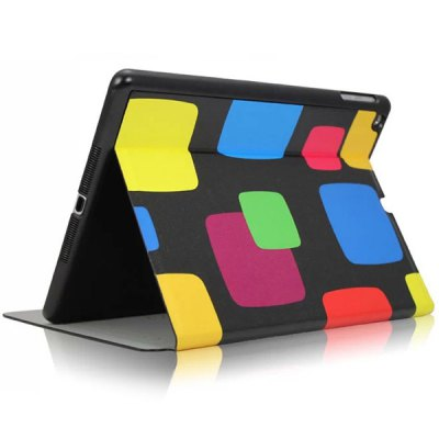 KAKU Colorful Grid Pattern PU and PC Material Cover Case for iPad Air
