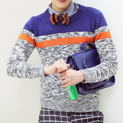 Гаджет   Stylish Round Neck Slimming Multicolor Splicing Long Sleeve Cotton Blend Thicken Sweater For Men Sweaters & Cardigans