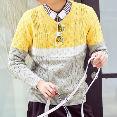 Гаджет   Stylish Round Neck Slimming Kink Design Multicolor Splicing Long Sleeve Cotton Blend Thicken Sweater For Men Sweaters & Cardigans