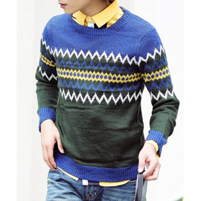Гаджет   Stylish Round Neck Slimming Ripple Jacquard Color Splicing Long Sleeve Thicken Cotton Blend Sweater For Men Sweaters & Cardigans