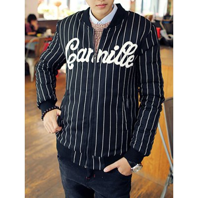 Гаджет   Stylish Stand Collar Slimming Letter Print Vertical Stripe Long Sleeve Thicken Cotton Blend Coat For Men Jackets & Coats