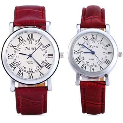 Nanci 9536A Couple Quartz Watch Round Dial Leather WatchbandCouples Watches<br>Nanci 9536A Couple Quartz Watch Round Dial Leather Watchband<br><br>Watches categories: Couple tables<br>Watch style: Fashion<br>Available Color: Brown, Black, White, Red<br>Shape of the dial: Round<br>Movement type: Quartz watch<br>Display type: Analog<br>Case material: Stainless steel<br>Band material: Leather<br>Clasp type: Pin buckle<br>Package weight: 0.097 kg<br>The male dial dimension (L x W x H): 4.0 x 4.0 x 0.7 cm / 1.6 x 1.6 x 0.3 inches<br>The male watch band dimension (L x W): 24.0 x 2.0 cm / 9.4 x 0.8 inches<br>The male watch weight: 0.035 kg<br>The male watch size (L x W x H): 24.0 x 4.0 x 0.7 cm / 9.4 x 1.6 x 0.3 inches<br>The female dial dimension (L x W x H): 3.2 x 3.2 x 0.7 cm / 1.3 x 1.3 x 0.3 inches<br>The female watch band dimension (L x W): 23.5 x 1.0 cm / 9.3 x 0.4 inches<br>The female watch weight: 0.022 kg<br>The female size (L x W x H): 23.5 x 3.2 x 0.7 cm / 9.3 x 1.3 x 0.3 inches<br>Package contents: 2 x Watches
