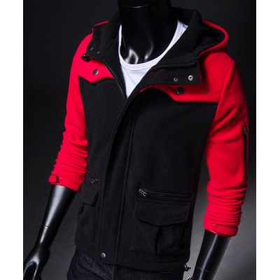 ФОТО Trendy Hooded Multi-Zipper Design Slimming Color Block Long Sleeves Men