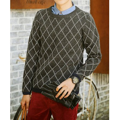 Гаджет   Stylish Round Neck Slimming Colorful Spots Argyle Design Long Sleeve Cotton Blend Sweater For Men Sweaters & Cardigans