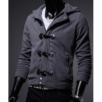 Гаджет   Preppy Style Hooded Slimming Horn Buttons Design Solid Color Long Sleeves Men