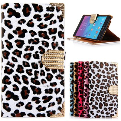 Leopard Print Design PU Leather and PC Cover Case for Samsung Galaxy Note4 N9100
