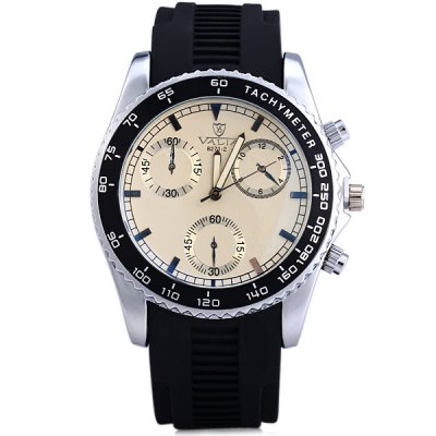 Valia 8271 - 2 Male Quartz Analog Watch Rubber Strap Round DialMens Watches<br>Valia 8271 - 2 Male Quartz Analog Watch Rubber Strap Round Dial<br><br>Watches categories: Male table<br>Watch style: Casual<br>Available color: White, Brown, Black<br>Movement type: Quartz watch<br>Shape of the dial: Round<br>Display type: Analog<br>Case material: Stainless steel<br>Band material: Rubber<br>Clasp type: Pin buckle<br>Special features: Decorating small sub-dials<br>The dial thickness: 1.2 cm / 0.5 inches<br>The dial diameter: 4.5 cm / 1.8 inches<br>The band width: 2.2 cm / 0.9 inches<br>Product weight: 0.073 kg<br>Product size (L x W x H): 25 x 4.5 x 1.2 cm / 9.8 x 1.8 x 0.5 inches<br>Package Contents: 1 x Watch