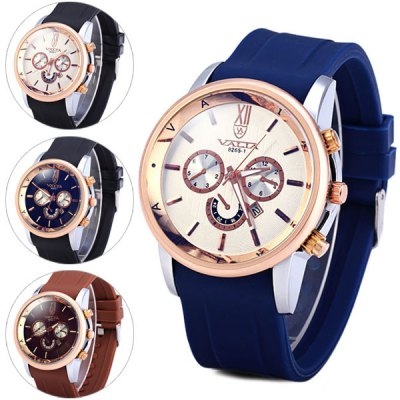 Valia 8265 - 1 Men Quartz Watch Analog Fashion Watches Day Rubber Strap Round DialMens Watches<br>Valia 8265 - 1 Men Quartz Watch Analog Fashion Watches Day Rubber Strap Round Dial<br><br>Watches categories: Male table<br>Watch style: Casual<br>Available color: Blue, Brown, Black, White<br>Movement type: Quartz watch<br>Shape of the dial: Round<br>Display type: Analog<br>Case material: Stainless steel<br>Band material: Rubber<br>Clasp type: Pin buckle<br>Special features: Day, Decorating small sub-dials<br>The dial thickness: 1.4 cm / 0.6 inches<br>The dial diameter: 4.5 cm / 1.8 inches<br>The band width: 2.5 cm / 1.0 inches<br>Product weight: 0.089 kg<br>Product size (L x W x H): 26 x 4.5 x 1.4 cm / 10.2 x 1.8 x 0.6 inches<br>Package Contents: 1 x Watch