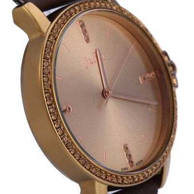 Фотография Julius 777 Analog Quartz Watch Diamond Round Dial Leather Band Ladies Wristwatch