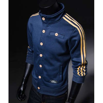 Гаджет   Sports Style Stand Collar Ribbon Embellished Slimming Long Sleeves Men