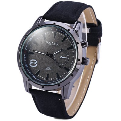 ФОТО Miler A87 Analog Unisex Quartz Watch Round Dail Leather Strap