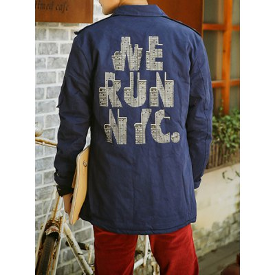 Гаджет   Laconic Turn-down Collar Solid Color Abstract Letters Print Long Sleeves Men