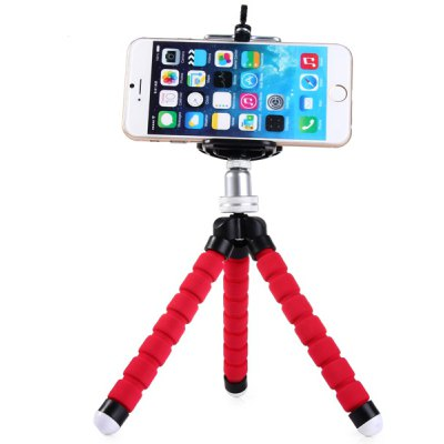 Sponge Metal Head Adjusted Tripod with Stretchable Clip for Mobile Phone