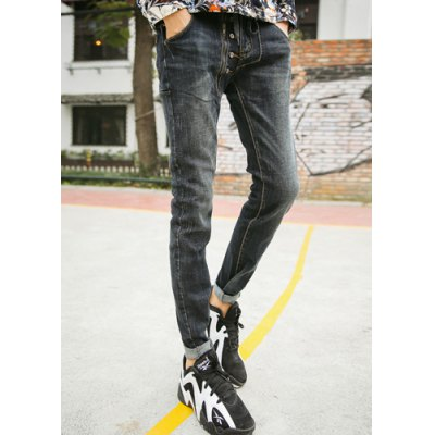 Гаджет   Refreshing Lace-Up Bleach Wash Button and Zipper Embellished Slimming Narrow Feet Men