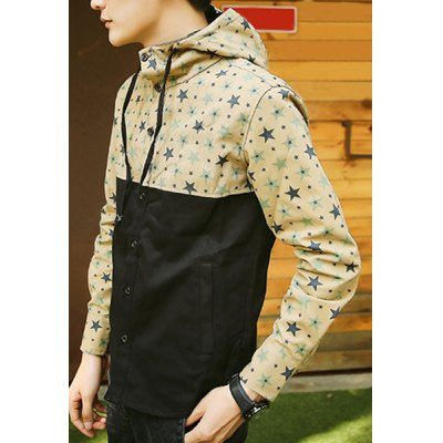 Гаджет   Casual Style Hooded Five-Pointed Star Print Slimming Color Splicing Long Sleeves Men