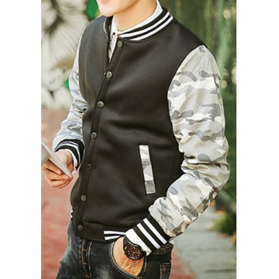 Гаджет   Modern Style Rib Splicing Stand Collar Slimming Camo Long Sleeves Men