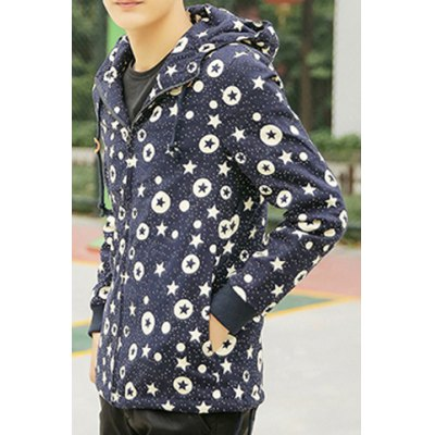 Гаджет   Trendy Hooded Slimming Five-Pointed Star Print Solid Color Long Sleeves Men