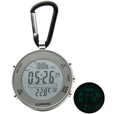 FX600 30m Water Resistant Mini LCD Digital Fishing Barometer Thermometer with Carabiner