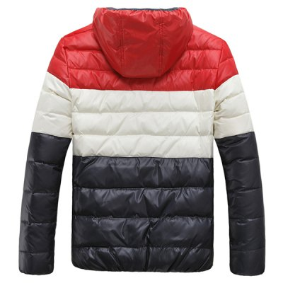 Гаджет   Stylish Hooded Slimming Zipper Design Multicolor Splicing Long Sleeve Thicken Cotton Blend Down Coat For Men Jackets & Coats