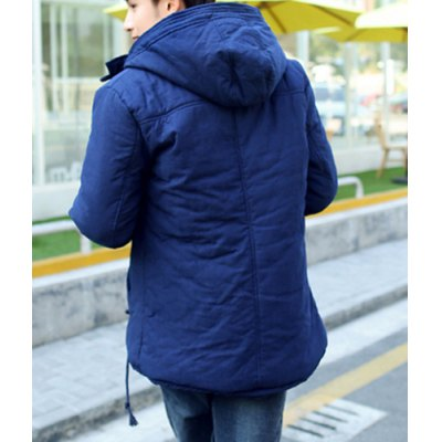 Гаджет   Stylish Hooded Slimming Button Design PU Leather Embellished Long Sleeve Thicken Cotton Blend Coat For Men Jackets & Coats